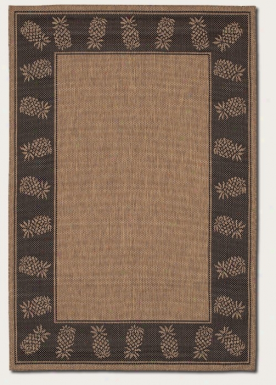 2'3&quot X 11'9&quot Runner Area Rug With Pineapple Design Border In Cocoa