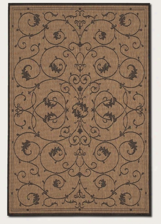 2'3&quot X 7'10&quot Runner Area Rug Scroll Floral Design In Cocoa