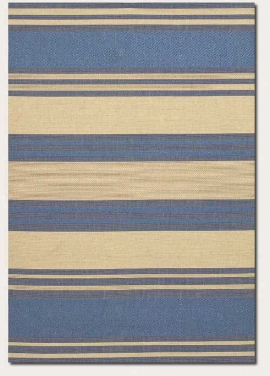 2'3&quot X 7'10&quot Runner Area Rug Thick Stripe Specimen In Blue And Cream