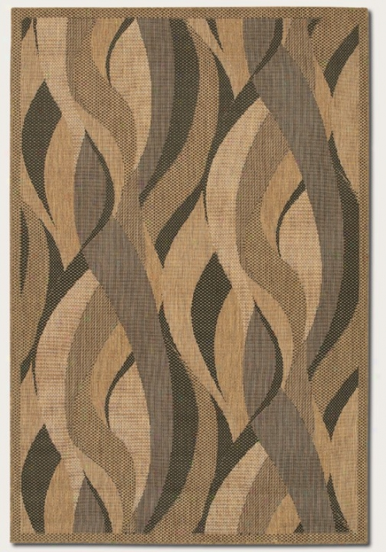 2'3&quot X 7'10&quot Runner Area Rug Wave Design In Natural And Black