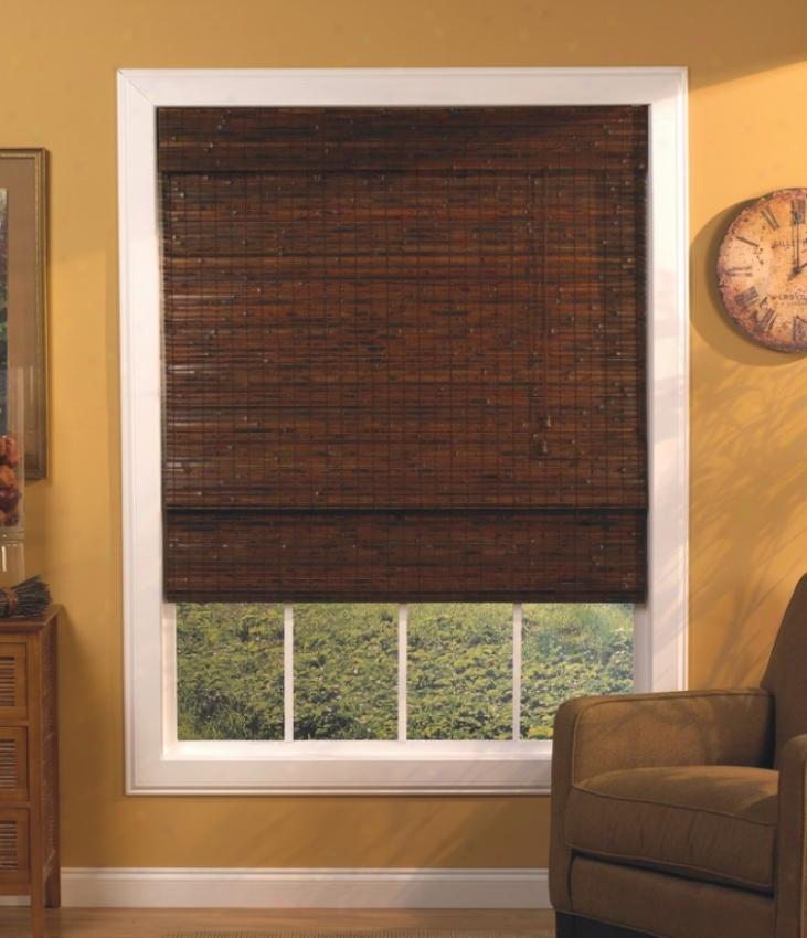 23&quotw Bamboo Window Treatment Roman Shade In Mahogany Finish