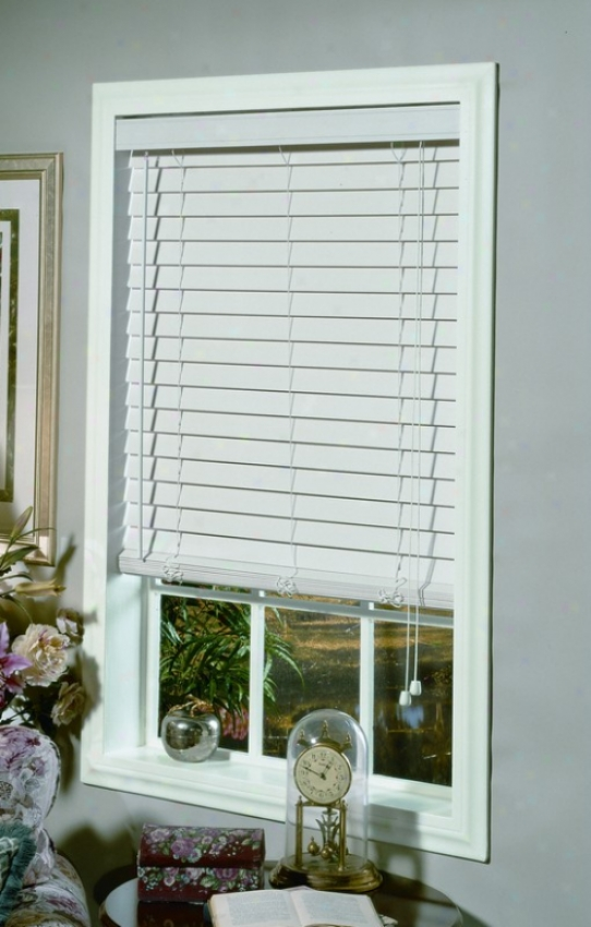 23&quotw Window Handling Blind In White Faux Wood Design