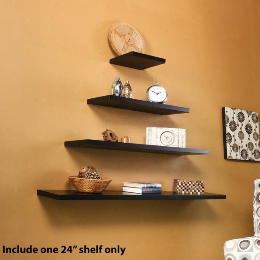 24&quot Pine Floating Wall Shelf In Black Finish