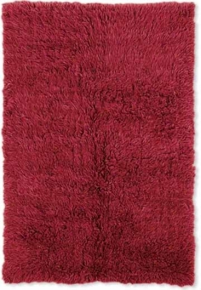 2'4&quot X 8'6&quot New Flokati Runner Area Rug - 100% Wool Red Color