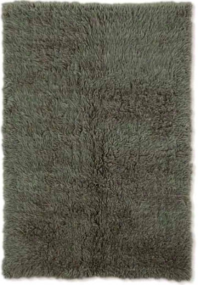 2'4&quot X 8'6&quot New Flokati Runner Area Rug - 100% Wool Olive Color