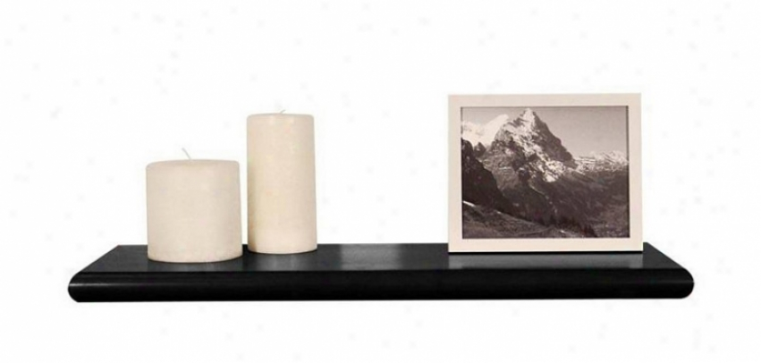 24&quotw Wall Mounted Shelf With Beveled Edge In Black Finish