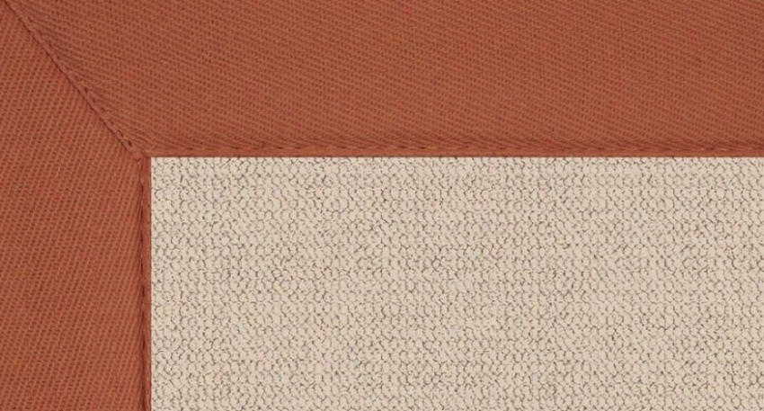 2'6&quot X 12' Natural Wool Runner Area Rug - Athena Hand Tufted Rug With Burnt Orange Border