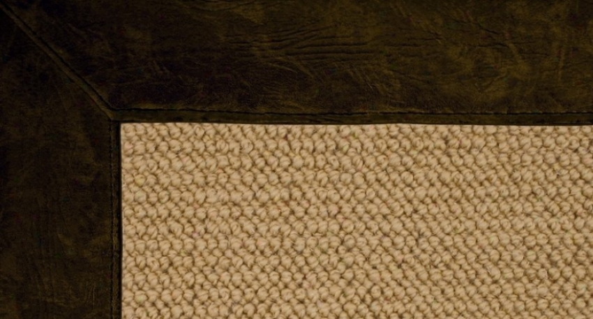 2'6&quot X 12' Sisal Woool Messenger Area Rug - Athena Hand Tufted Rug With Dar Green Leather Border