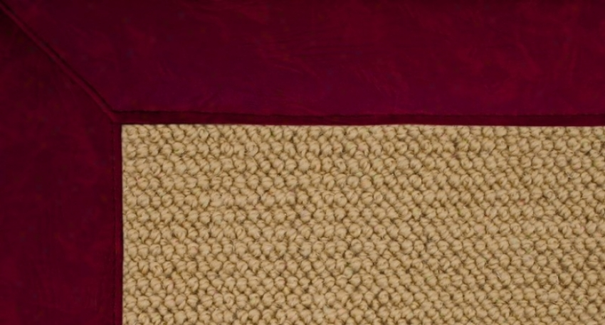 2'6&quot X 12' Sisal Wool Runner Area Ru g- Athena Hand Tufted Rug With Budgundy Leather Border