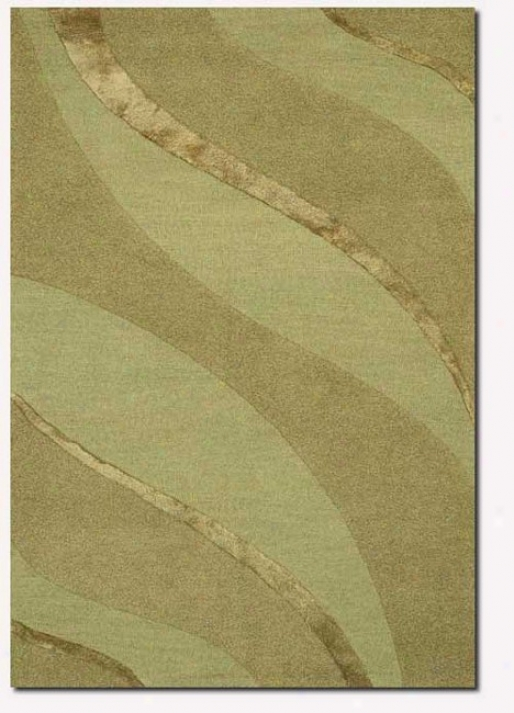 2'6&quot X 4'2&quot Contemporary Ribbons Carve Textured Cut Green Area Rug