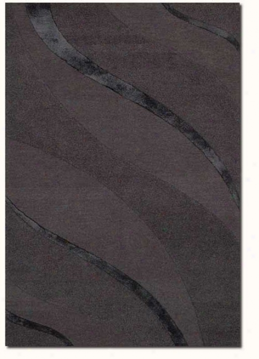 2'6&quot X 42'&quot Contemporary Ribbons Carve Textured Cut Grey Area Rug