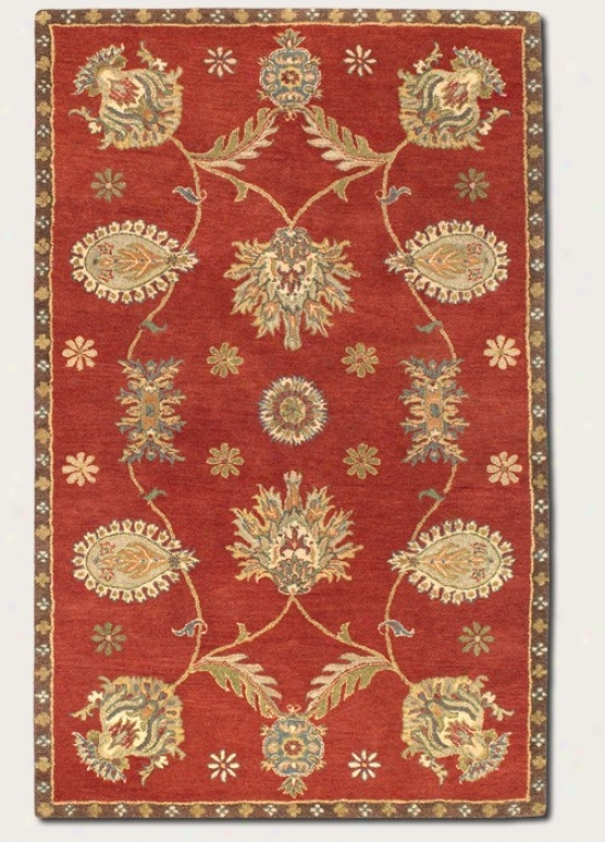 2'6&quot X 4'6&quot Area Rug Hand-crafted Large Pwrsian Pattern In Red