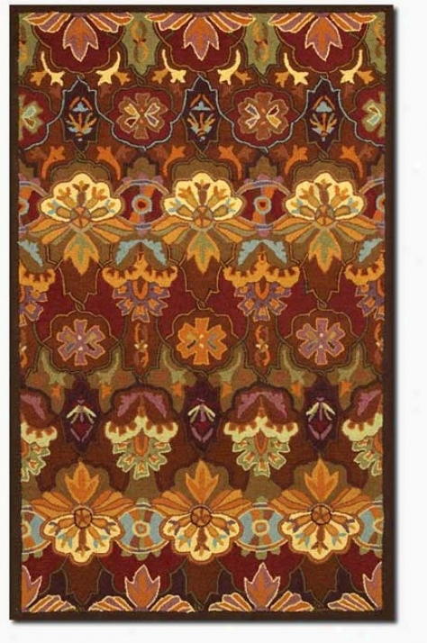 2'6&quot X 4'6&quot Oragne Blossom Floral Patterns 100% Wool Area Rug