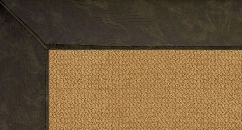 2'6&quot X 8' Cork Wiol Runner Area Rug - Athena Hand Tufted Rug With Dark Green Leather Border
