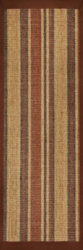 2'6&quot X 8' Sixal Area Rug With Earth Tone Stripes Brown Border