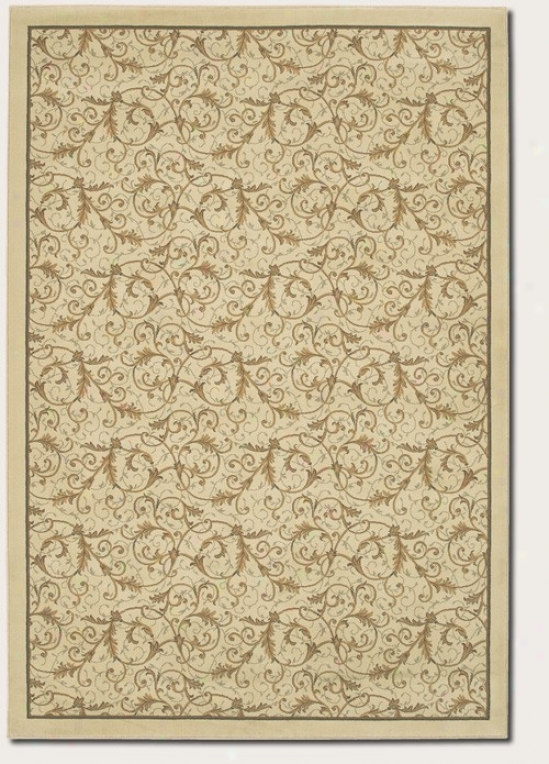 2'7&quot X 7'10&quot Runner Area Rug Gold Scroll Fern Design In Ivory Color