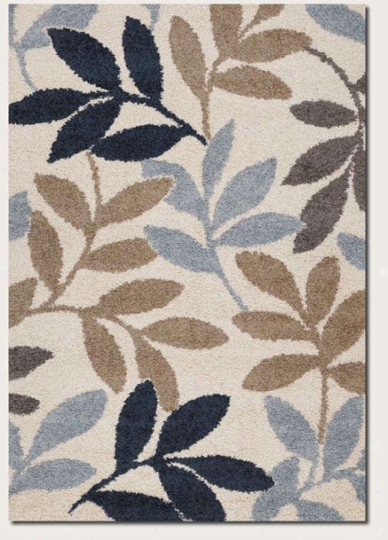 2'7&quot X 7'10&quot Runner Area Rut Large Leaf Pattern In Dark Blue And Cream