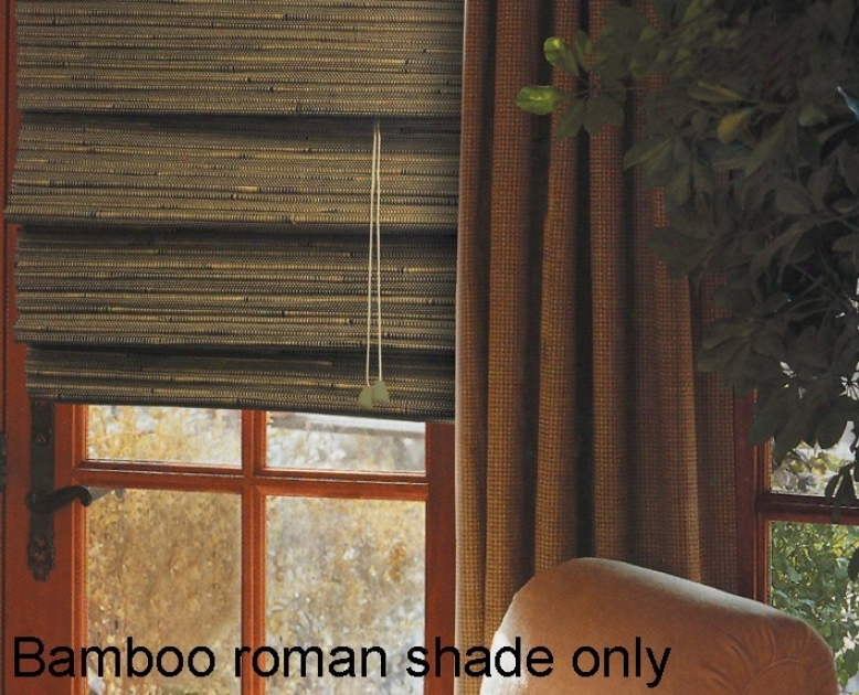 27&quotw Bamboo Window Treatment Roman Shade In Green Tea Finish