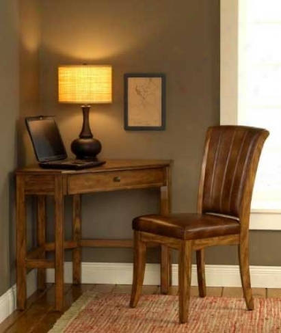 2pc Corner Computer Desk And Chair SetI n Medium Oak Finish