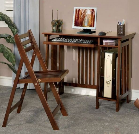 2pc Folding Deesk And Chair Set Mission Style In Brown Finish