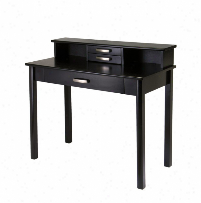 2pc Home Office Writing Desk With Hutch In Dark Espressp