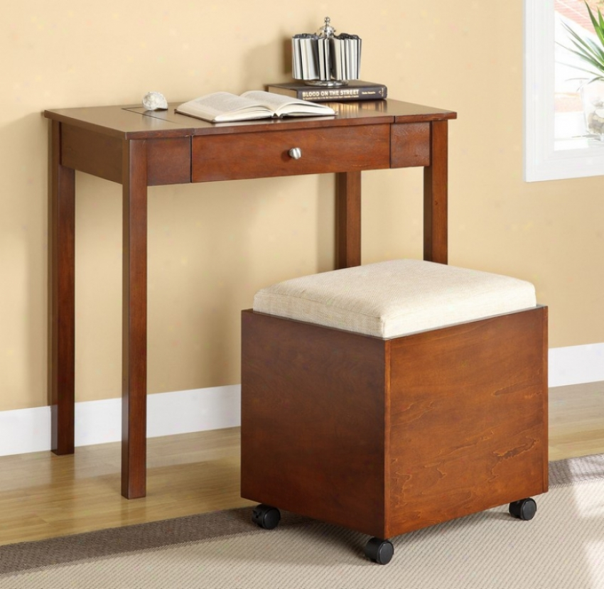 2pc W5iting Desk And Srool Determined In Cherry Finish