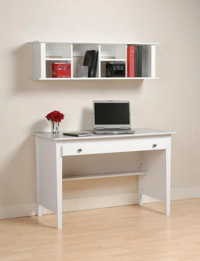 2pcs Computer Desk Andd Wall Hutch Bookcase - White