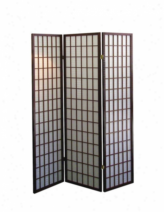 3 Panel Room Divider With Japanese Design In Cherry Finish