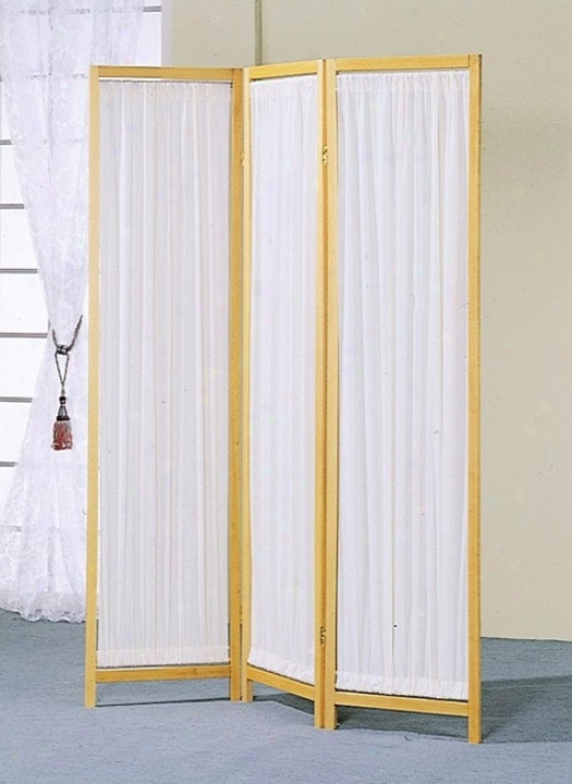 3 Panels Forest Frame & Pleated Fabric Insert Room Screen/divider