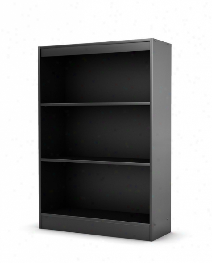 3 Tier Bookcase Shelf Contemporary Style In Solid Black Finish