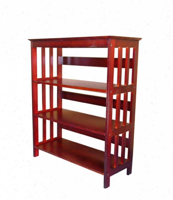 3 Tier Bookshelf With Mission Style Design In Cherry Finish