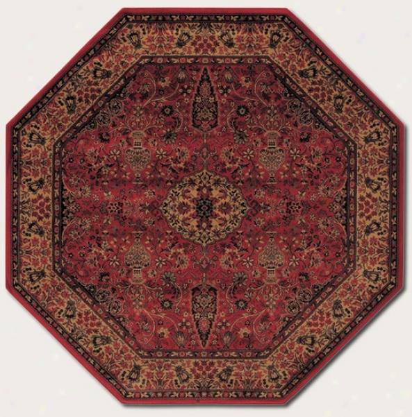 3'11&quot Octagon Area Rug Cpassic Persian Specimen In Rust Red