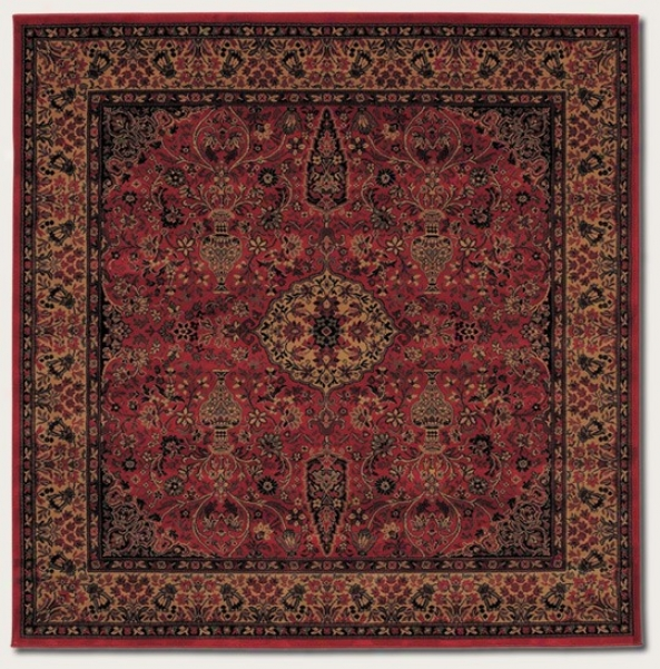 3'11&quot Square Area Rug Classic Persian Pattern In Rust Red