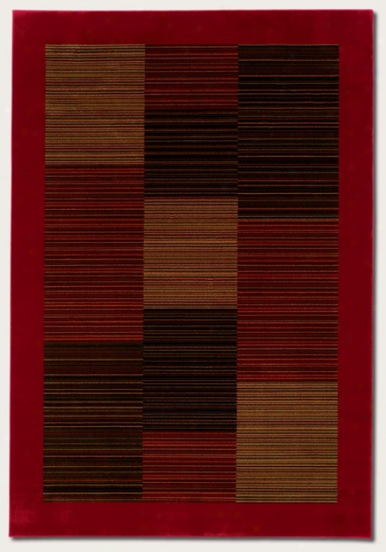 3'11&quot X 5'3&qquot Area Rug Slender Stroke  Pattern Attending Red Border