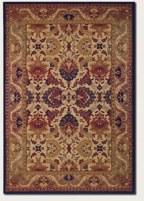 3'11&quot X 5'6&quot Area Rug Persian Floral Pattern In Crdam And Navy
