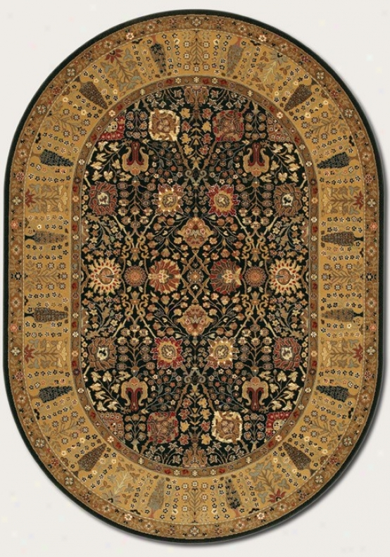 3'11&quot X 6'6&quot Oval Area Rug Classic Persian Pattern In Black