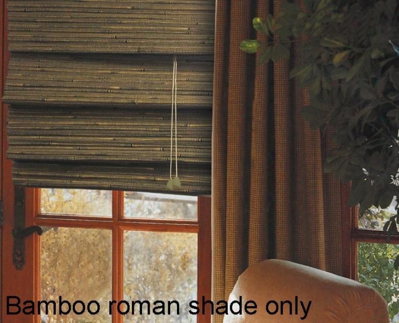 35&quotw Bamboo Window Treattment Roman Shade In Green Tea Finish