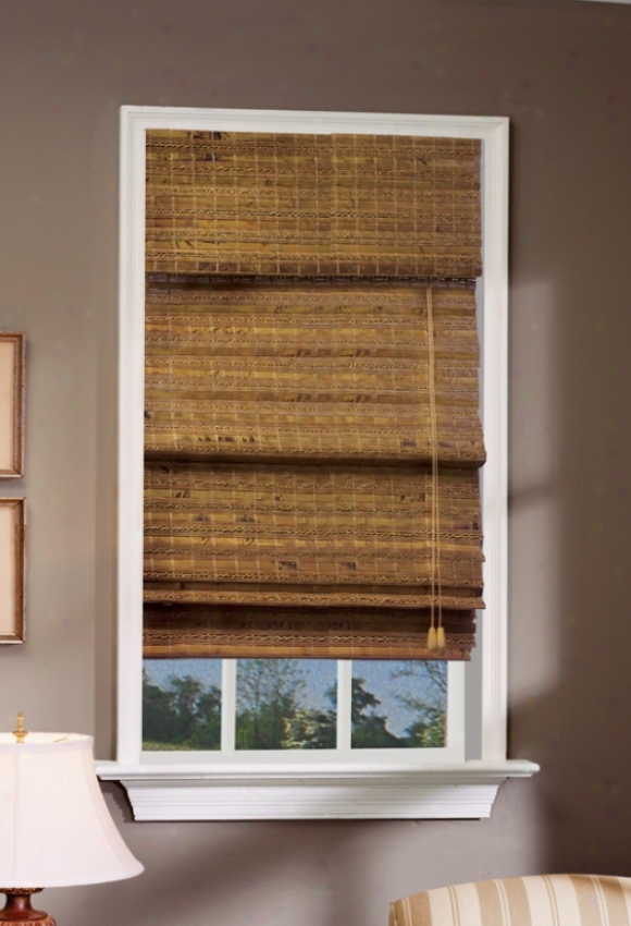35&quotw Bamboo Window Treatment Roman Shade In Pecan Finish