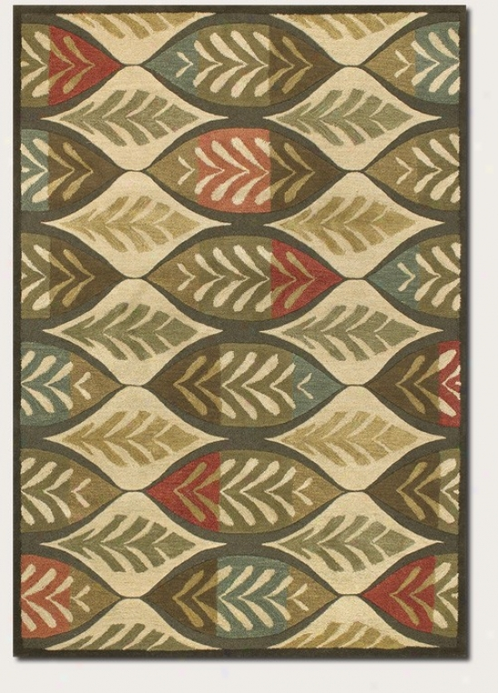 3'6&quot X 5' Area Rug Large Leaf Print In Ivory And Sage