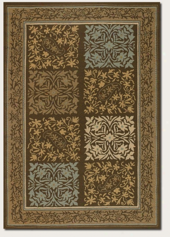 3'6&quot X 5'6&quot Area Rug Geometic Floral Pattern In Light Blue And Fern