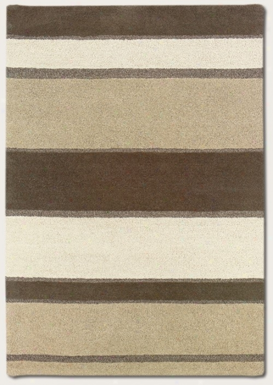 3'6&quot X 5'6&quot Area Rug Hand Crafted Striped Design In Linen Beige