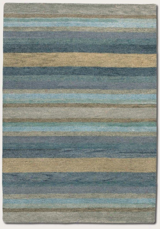 3'6&quot X 5'6&quot Area Rug Striped Pattern In Sky Blue Color