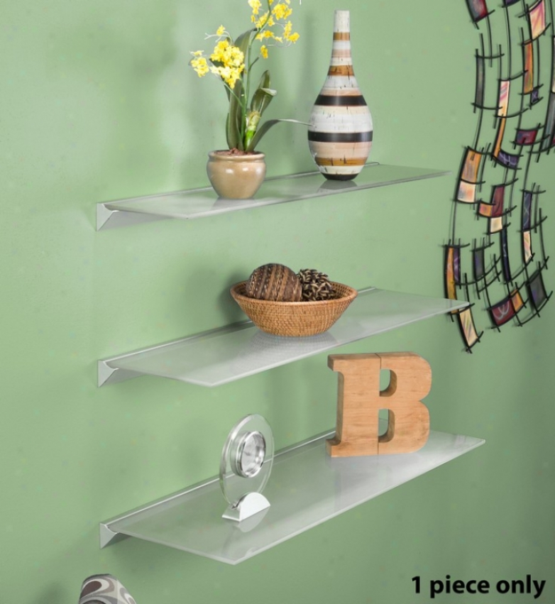 36&quot X 8&quot Frosted Floating Glass Shelf With Metal Ledge