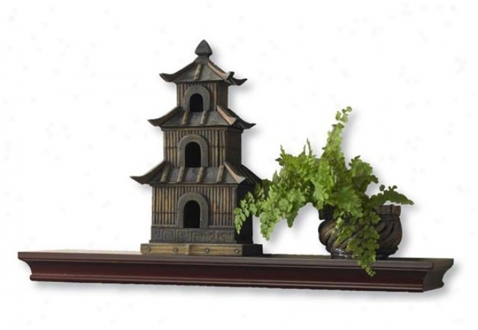 36&quotw Wall Mounted Shelf Traditional Style In Mahogany Finish