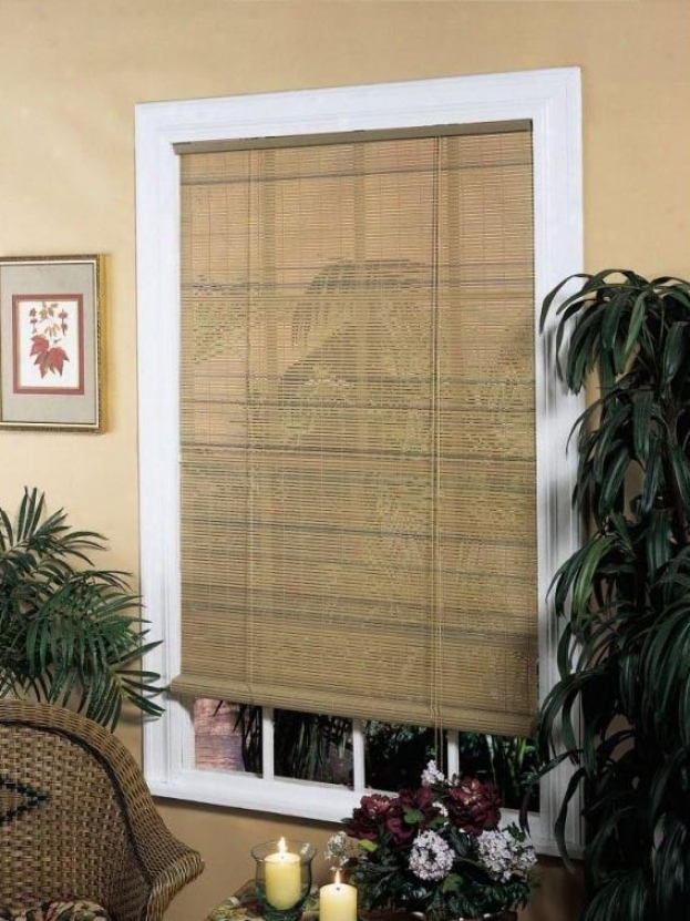 36&quotw Window Treatment Roll-up Blind In Woodgrain Oval Vinyl Pvc