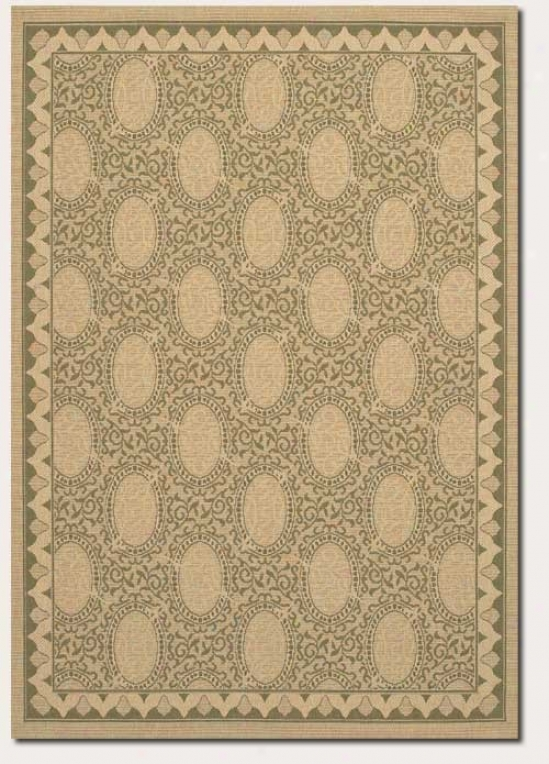 3'7&quot X 5'5&quot Area Rug Classic Oval Imitate In Cream And Green