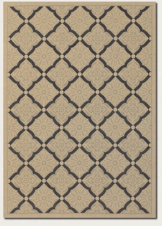 3'7&quot X 5'5&quot Area Rug Floral Grid Pattern In Cream And Black