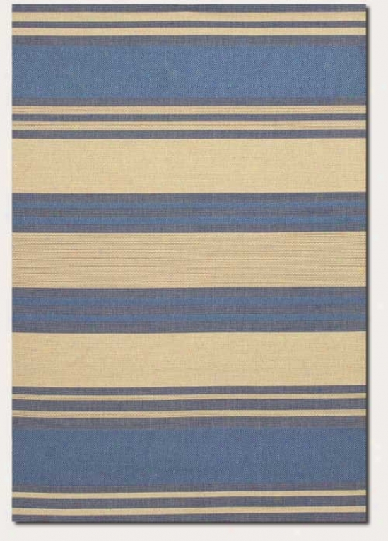 3'7&quot X 5'5&quot Area Rug Thick Stroke  Pattern In Blue And Cream