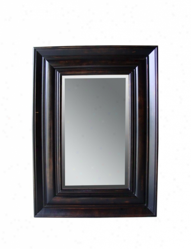 38&quoth Wall Mirror Traditional Style In Ebony Pine Distressed Finish