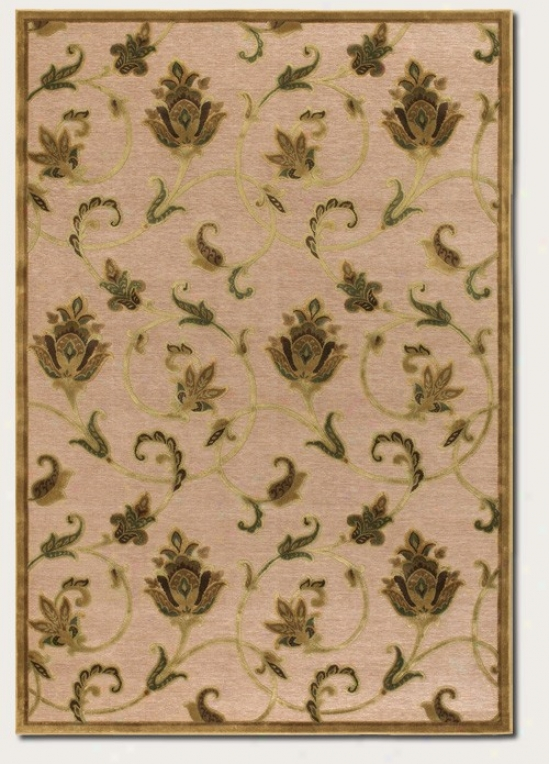 3'9&quot X 5'2&quot Area Rug Floral Pattern In Ivory And Antique Gold